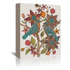 Lovebirds' Graphic Art on Wrapped Canvas by East Urban Home