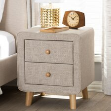 Tito Mid-Century Upholstered 2 Drawer Nightstand by Wholesale Interiors