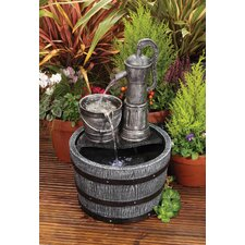 Vintage Pump and Barrel Fountain with LED Light