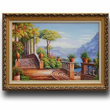 Lodge on Lake Como' by Carl Frederic Aagaard Framed Painting