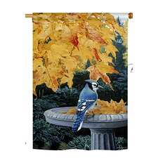 Autumn Birdbath 2-Sided Vertical Flag