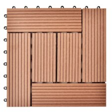 11-tlg. 30 cm x 30 cm Bodenfliesen-Set aus Holz-Kunststoff-Verbundmaterial