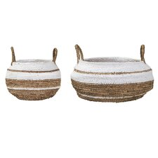 Raffia Wicker/Rattan 2 Piece Basket Set