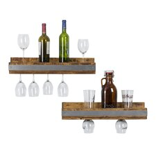 Shallow 5 Bottle Wall Mounted Wine Glass Rack (Set of 2)