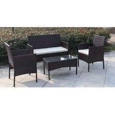 Madison 4 Piece Wicker Seating Group with Cushion
