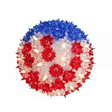 Patriotic U.S Flag Lighted Hanging Starlight Sphere Ball Decoration