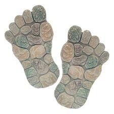 2 Piece Decorative Foot Garden Stone Set