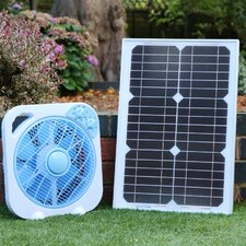 "10"" Oscillating Floor Fan and Solar Panel"