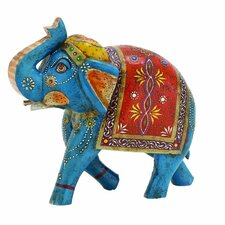 Wood Painted Elephant Figurine