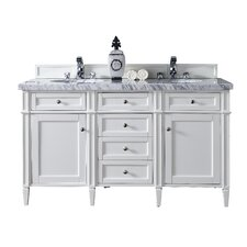 Brittany 60 Double Cottage White Bathroom Vanity Set by James Martin Furniture