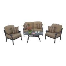 Nassau 4 Piece Deep Seating Group with Cushions by Darlee