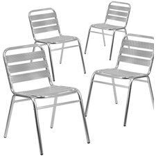 Aluminum Stacking Dining Side Chair (Set of 4) by Flash Furniture