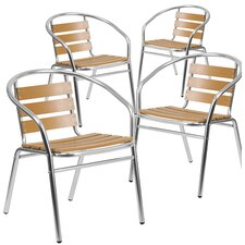 Aluminum Stacking Dining Arm Chair (Set of 4) by Flash Furniture
