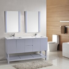 Biscayne 60 Double Bathroom Vanity Set with Mirror by Alya Bath