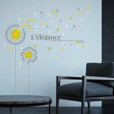Yellow Dandelion and Swarovski Crystals Wall Sticker