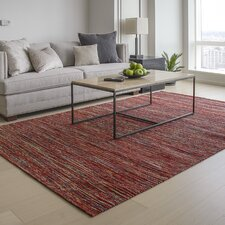 Sari Silk and Jute Hand Woven Red Area Rug