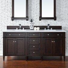 "Brittany 72"" Double Burnished Mahogany Bathroom Vanity Set"