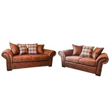 Highlander 2 Piece 3 Seater and 2 Seater Pillow Back Sofa Set