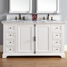 "Providence 60"" Double Cottage White Bathroom Vanity Set"