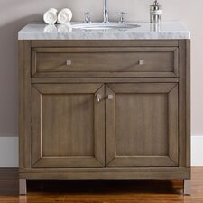 Chicago 36 Single White Washed Walnut Bathroom Vanity Set by James Martin Furniture