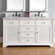 Savannah 60 Double Cottage White Bathroom Vanity Set by James Martin Furniture