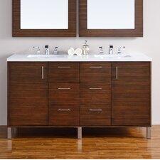 Metropolitan 60 Double American Walnut Bathroom Vanity Set by James Martin Furniture