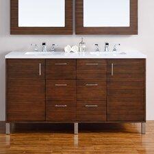 "Metropolitan 60"" Double American Walnut Bathroom Vanity Set"