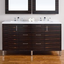 Metropolitan 60 Double Macassar Ebony Bathroom Vanity Set by James Martin Furniture