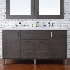 Metropolitan 60 Double Silver Oak Bathroom Vanity Set by James Martin Furniture