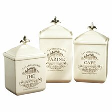 3 Piece Ceramic Kitchen Canister Set
