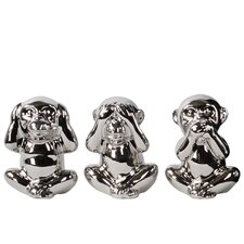 Sitting Monkey See, Hear, Speak No Evil 3 Piece Figurine Set