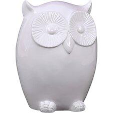 Ceramic Owl LG Gloss White Figurine by Viv + Rae