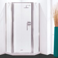 Optima 90cm W x 90cm D x 190cm H Pentagon Pivot Side Shower Enclosure