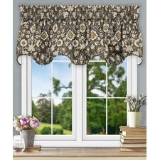 "Adelle Jacobean Floral Lined Scallop 70"" Curtain Valance"