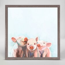 Three Little Piggies by Cathy Walters Mini Canvas Framed Art