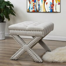 Kenny Button Tufted Nailhead Trim Ottoman by Inspired Home Co.