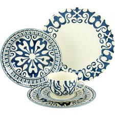 Henna Blue 30 Piece Dinnerware Set with Mug, Service for 6