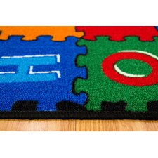 ABC Puzzle Blue/Green Kids Rug
