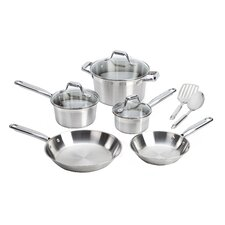 Elegance Brushed Stainless Steel 10 Piece Cookware Set