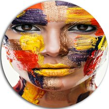 'Woman with Colorful Face' Photographic Print on Metal