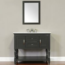 Hampton 42 Single Contemporary Bathroom Vanity Set with Mirror by Alya Bath