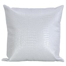Crocodile-Textured Faux Leather Throw Pillow
