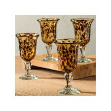 Classic Tortoise Recycled Glass 9 oz. Wine Goblet (Set of 4)