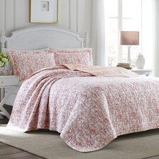 Bettina Beach Rose Cotton Reversible Quilt Set by Laura Ashley Home