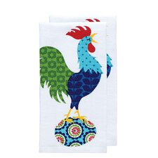 Rooster Print Dual Kitchen Dishcloth (Set of 2)