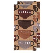 Coffee Fiber Reactive Print Kitchen Dishcloth (Set of 2)