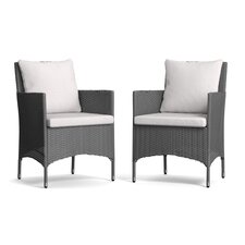 Ellie Indoor/Outdoor Dining Arm Chair with Cushion (Set of 2)