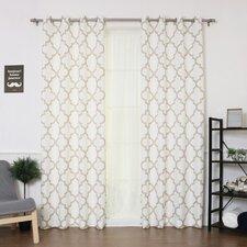 Arrey Basketweave Geometric Semi-Sheer Grommet Curtain Panel (Set of 2)
