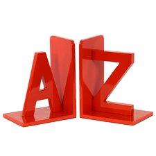 """Wood Alphabet Sculpture """"AZ"""" Bookends (Set of 2)"""