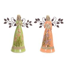 2 Piece Angel Figurine Set